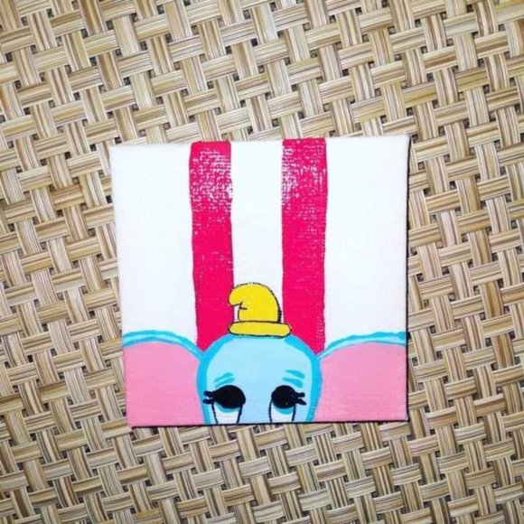 "Hand-Painted 3"" x 3"" Dumbo on Canvas"
